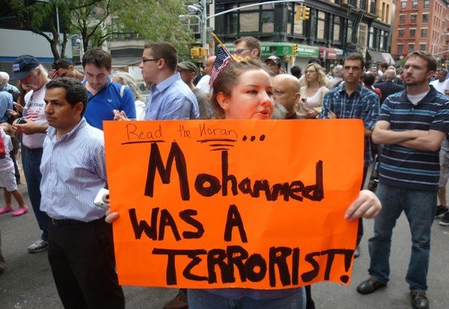 Mohammed was a terrorist placard