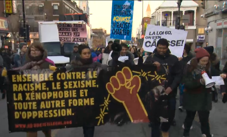 Montreal anti-charter protest March 2014
