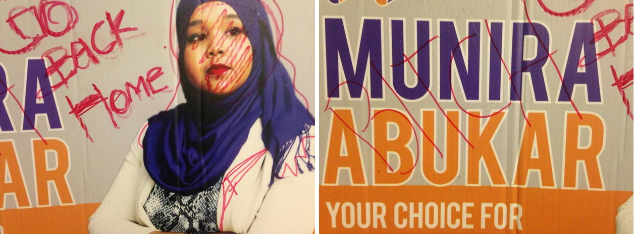 Munira Abukar election sign defaced