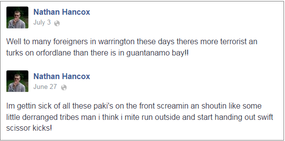 Nathan Hancox Facebook comments