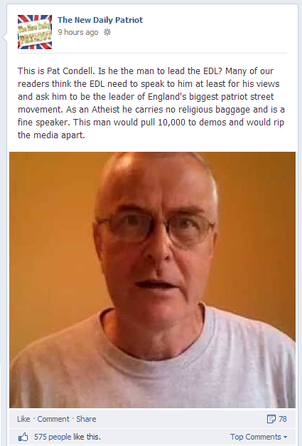 New Daily Patriot Pat Condell for EDL leader