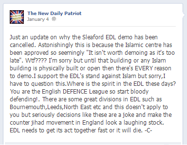 New Daily Patriot on Sleaford demo cancellation