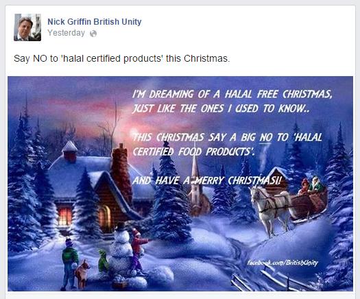 Nick Griffin halal free Christmas
