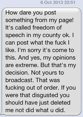 Nicky Hutt abusive message