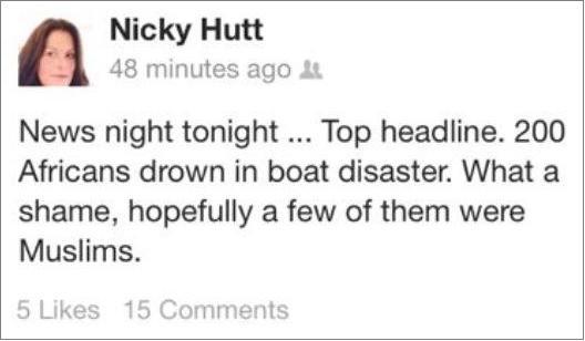 Nicky Hutt's Facebook post