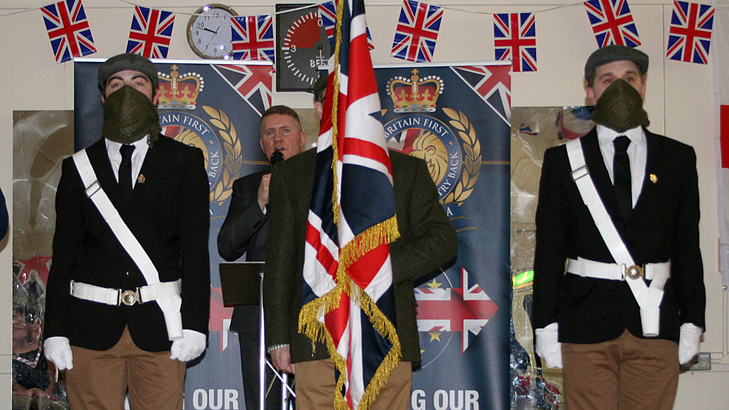 Paul Golding addressing Britain First meeting