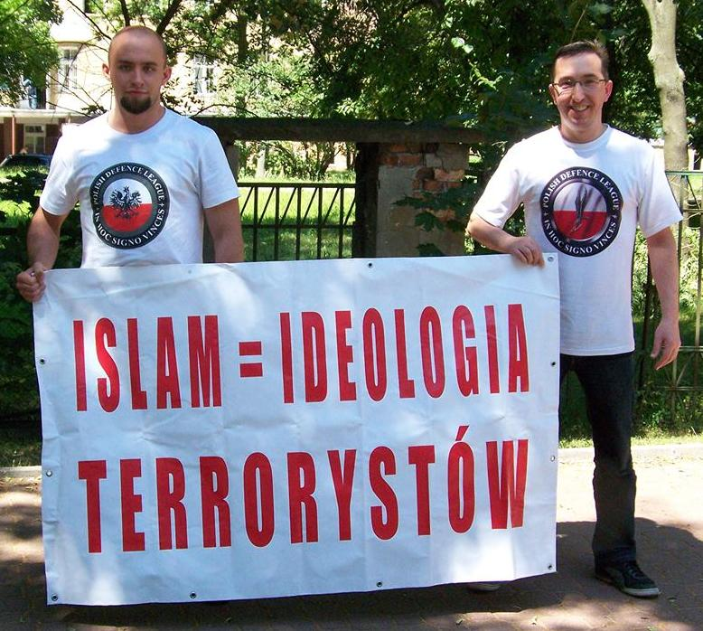 Polish Defence League anti-Islam banner