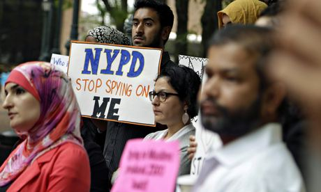 protesters against NYPD programme