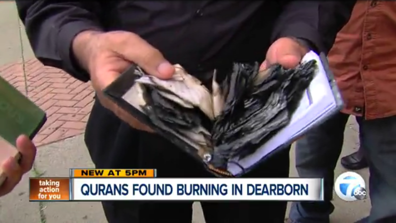 Qurans found burning in Dearborn