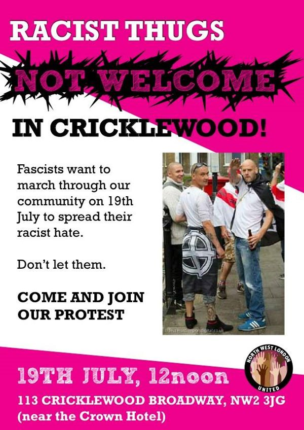 Racist thugs not welcome in Cricklewood
