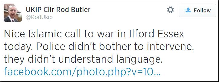 Rod Butler Islamic call to war tweet