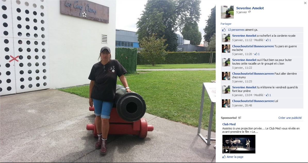 Séverine Amelot Facebook post