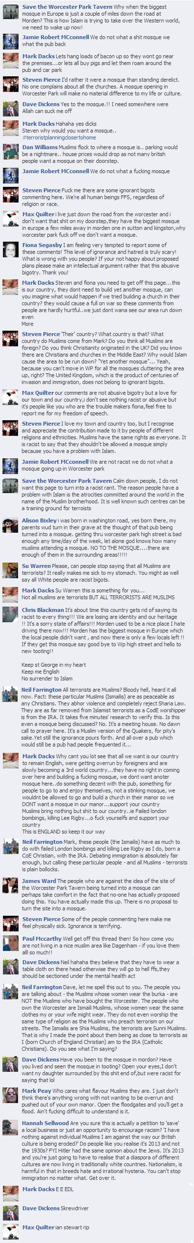Save the Worcester Park Tavern Facebook comments