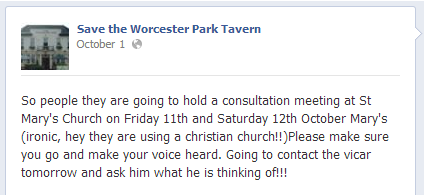 Save the Worcester Park Tavern objects to consultation meeting in church