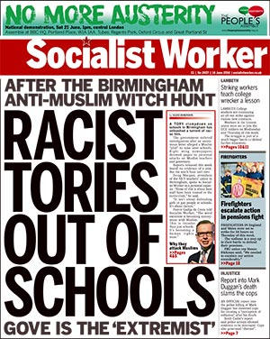 Socialist Worker racist witch-hunt front page