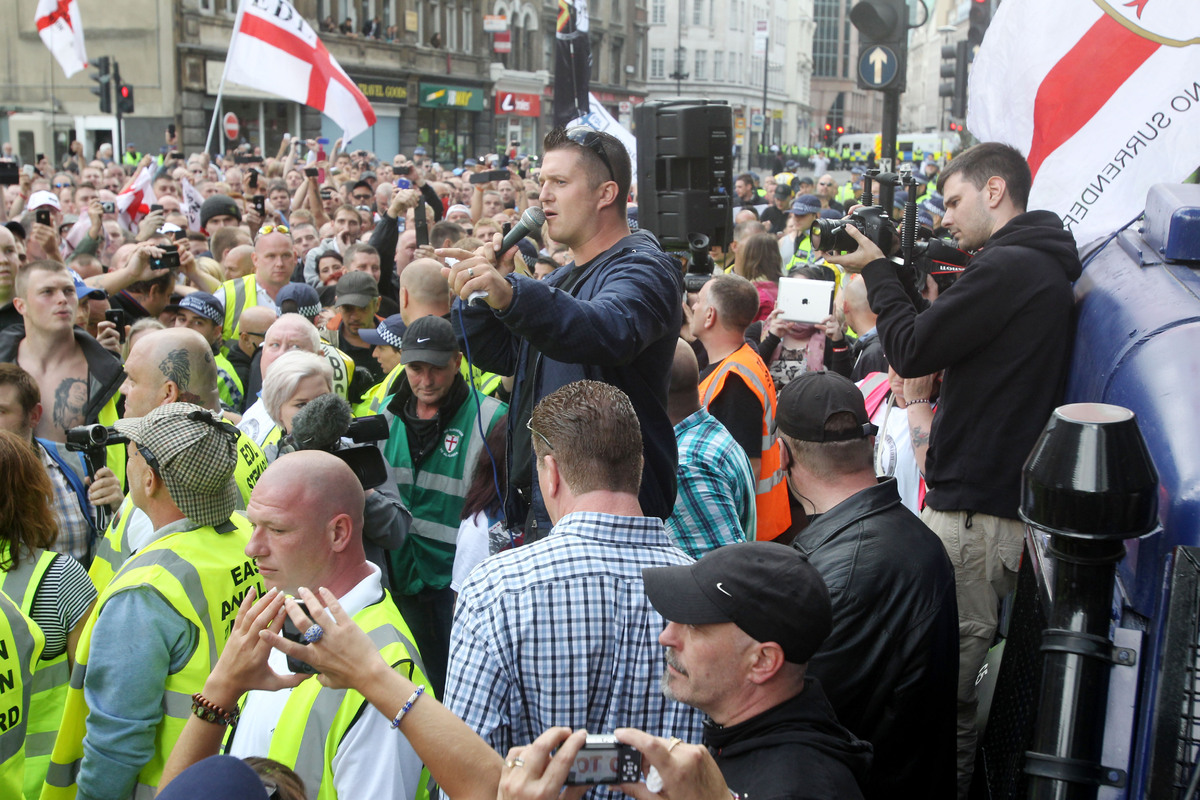 Stephen Lennon addresses EDL protest 7.9.13
