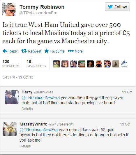 Stephen Lennon cheap tickets for Muslims tweet