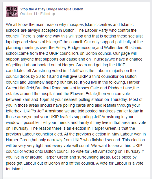 Stop the Astley Bridge Mosque Bolton backs UKIP