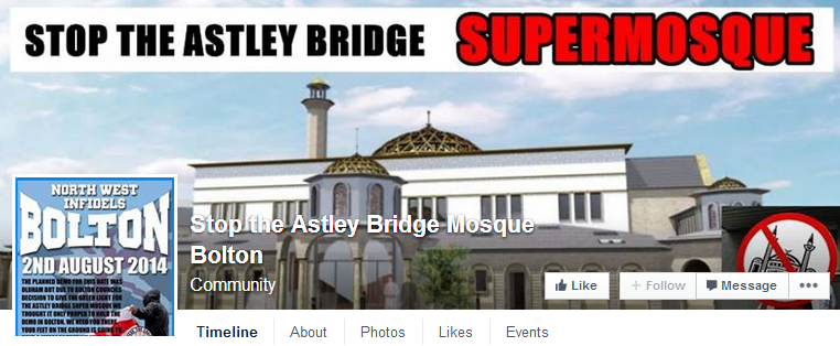 Stop the Astley Bridge Mosque Bolton with NWI protest ad