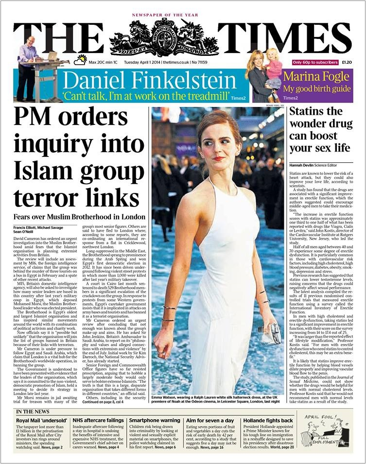 Times Muslim Brotherhood terror links front page