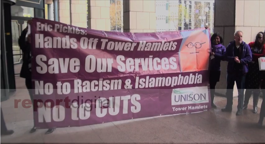 Tower Hamlets Town Hall protest against government commissioners