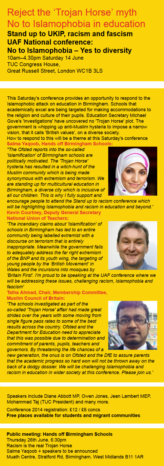 UAF conference Reject the 'Trojan Horse' myth