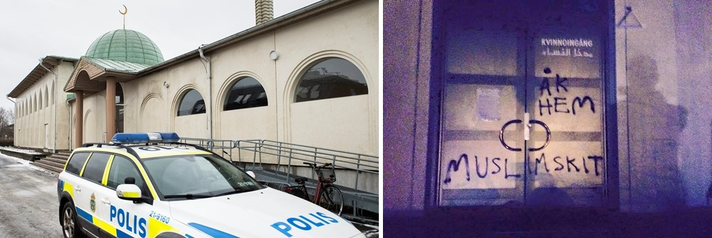 Uppsala mosque racist graffiti