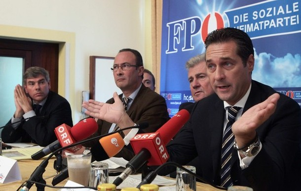 FPOe head Strache sits next to Belgiums Vlaams Belang party member De Winter Vlaams Belang President Valkeniers and member of the European Parliament Moelzer during a news conference in Vienna