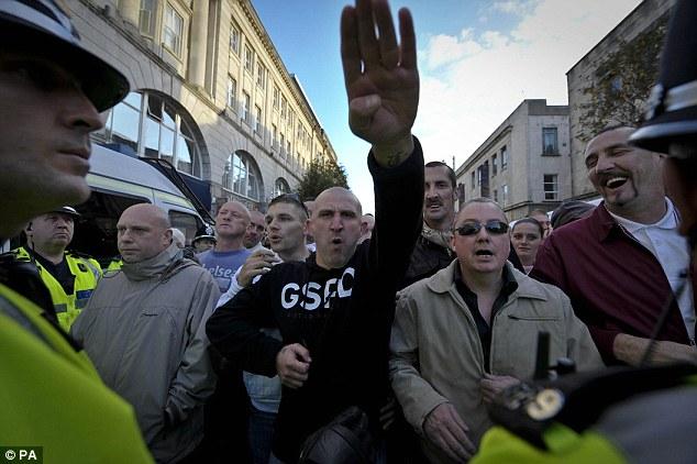 Welsh Defence League Nazi salute