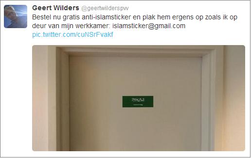 Wilders anti-Islam sticker